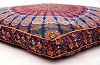 Indian Mandala Feather Bed Pouf Covers Cushion Ethnic Decor Square Floor Pillows