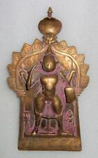1800'C Antique Old Brass Hand Engraved Hindu God Shiva Avatar Virbhadra Statue