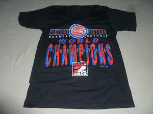 VINTAGE DETROIT PISTONS WORLD CHAMPIONS 1990 SHIRT SIZE M BACK 2 BACK TEE MENS >