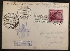 1932 Triesenberg Liechtenstein Graf Zeppelin Postcard Cover LZ 127 Danzig Flight