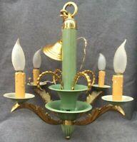 Large antique french Art Nouveau chandelier lamp early 1900's gilded bronze  8lb