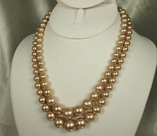 1950s GLASS PEARL Double Strand Necklace~JAPAN~Champagne~ADJUSTABLE Length~EX!!!