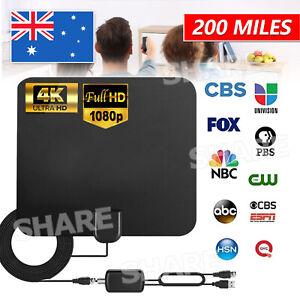 4K TV Antenna Flat Indoor HD Digital Indoor Amplified Amplifier 200 Mile Aerial