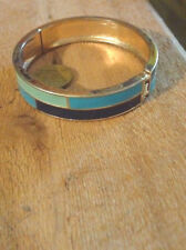 Vintage Hinged Enamel Bracelet Bangle Geometric Modernist- NZ antique estate