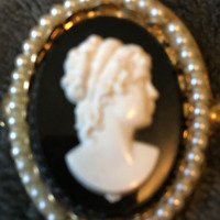Vtg Jewelry Coro Cameo Brooch Pin Signed w Faux Pearls Gold Tone Setting 50's