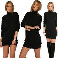 Women Mini Turtleneck Knit Slim Sexy Dress Long Sleeve Winter Warm-Sweater Dress