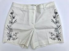 """White House Black Market Floral Embroidered White Ivory 5"""" Shorts size 14"""
