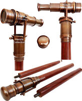 Marine Brass Telescope Walking Cane Wooden Stick Vintage Style Men's Gift Spy