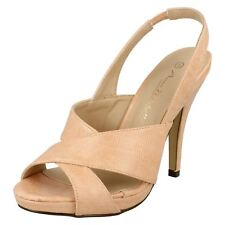 Ladies Anne Michelle Heeled Sling Back PEEP Toe Sandals UK 7 Pink Standard