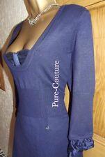STUNNING ❤️ KAREN MILLEN BLUE FINE  KNIT SHIFT DRESS SIZE 1 8 10 Office Party