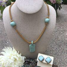 RARE Vintage Miriam Haskell Necklace & Earrings Set Ceramic Pendant Gold Tone