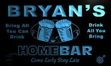 p1487-b BRYAN's Personalized Home Bar Beer Family Name Neon Light Sign
