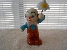 Vintage Bisque Porcelain Clown Figurine Holding Umbrella On Spring
