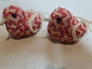 Pair Of Red & white Fabric Handmade Birds, Christmas Ornaments Xmas Decor ha