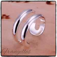 925 Sterling Silver Double Line Wrap Ring Adjustable Thumb Finger Gift
