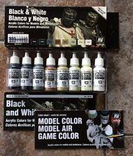Model Color Vallejo Box of 8 Black & White Various Tubes 17ml