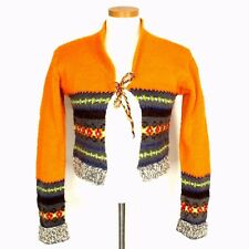 Free People Boho Hand Knit 100% Wool Orange Tie Cardigan Sweater Size Medium