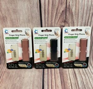 Lot of 3 Finger Grip Cell Phone Holder with Built in Kick Stand - Adhesive