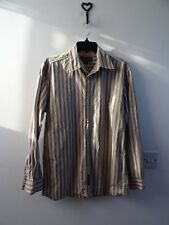 TIMBERLAND mans brown striped pure cotton  shirt size S