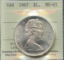 1967 Canada Silver Dollar - ICCS MS-65. A real gem!
