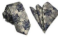 Woven Paisley Jacquard Silky Tie and Handkerchief Pocket Square Set Wedding UK