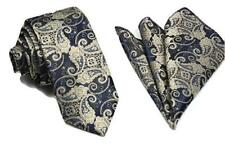 Woven Paisley Jacquard Silky Tie and Handkerchief Pocket Square Set Wedding UK