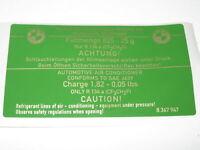 BMW E36 Aircon R134a Recharge Guide Label Sticker 64508367947
