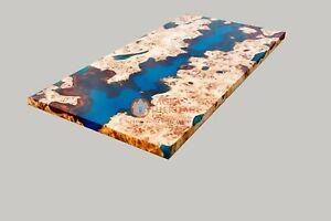 Blue Resin Mappa Burl Acacia Wooden Dining Custom Corridor Table Furniture Deco