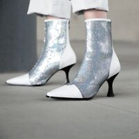 Womens Glitter Sequins Pointy Toe Kitten Mid Heels Ankle Boots Plus Size T54847