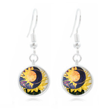 Sun and Moon Tibet Silver Dome Photo 16MM Glass Cabochon Long Earrings #484