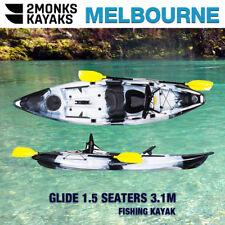 3.1M Fishing Kayak Canoe 1.5 Seater 1 Adult &1 Kid Double Melbourne Black White