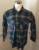Men's Medium M OshKosh B'Gosh The Genuine Article Blue Tan Flannel Shirt Plaid