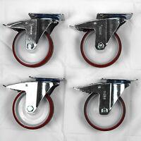 """Polyurethane Tyre Nylon Centre Swivel Braked Castors, 4-Pack (125MM/5"""")"""