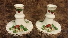"PAIR OF SPODE HAMMERSLEY ""STRAWBERRY RIPE"" BONE CHINA CANDLE HOLDERS"