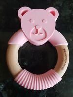 Wooden Baby Teether/Teething Ring Beech Wood & Silicone. New UK Seller Pink Bear