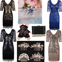 Womens 1920s Vintage Flapper Fringe Beaded Great Gatsby Party Dress Cocktail Tea