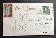 1913 Masonville to Bridgeton Rhode Island Christmas Postcard w Christmas Seal