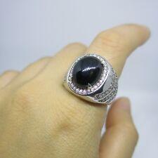 White Gold Fine Ring Men Diamond Natural Black Onyx Silver Master piece sz 11