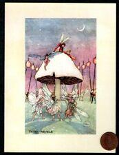 Fairies Pixie Dancing Around Under Mushroom Moon - Blank Note Greeting Card New