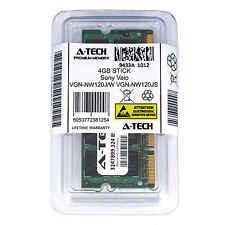 4GB SODIMM Sony VGN-NW120J/W VGN-NW120JS VGN-NW125J VGN-NW130D Ram Memory