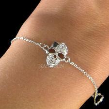Dainty ~SKULL made with Swarovski Crystal HIP HOP Day of Dead Halloween Bracelet