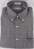 100% Cotton Long Sleeve Button Down Dressy/Casual Grey Glen Plaid Shirt- MARTIN