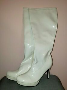 Womens High Stiletto Heel Shoes Tall Leg Boots Clubwear Patent Leather New 9/10