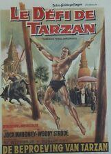 """LE DEFI DE TARZAN (TARZAN'S THREE CHALLENGES)"" Affiche entoilée (Jock MAHONEY)"