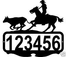 BULLDOGGIN CUSTOM NAME ADDRESS SIGN COWBOY HORSE RUSTIC WESTERN METAL ART DECOR