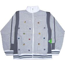 SESAME STREET EMBROIDERED FACES GREY/WHT ZIP UP TRACK JACKET SWEATSHIRT 4XL NEW
