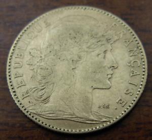 France 1899 Gold 10 Francs AU Rooster