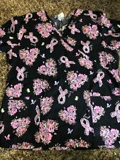 New listing Sb Scrubs Women's Black Pink Breast Cancer Ribbon Heart Prints Scrubs Size L