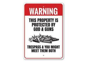 Property Protected by God & Guns Warning Aluminum Sign