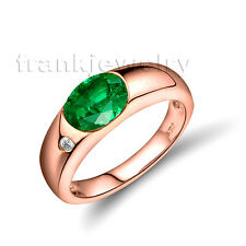 18kt Rose Gold Natural Oval 6x8mm Colombia Emerald Engagement Gemstone Ring